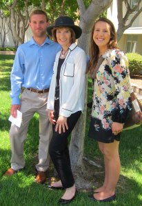 UCSB graduating seniors Matt Olivero and Riley Hubbell with Dr. Mary Ellen Guffey.